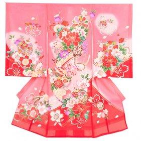 女児産着45(正絹)ピンク/花車と桜