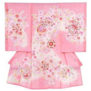 お宮参り女の子33(正絹)ピンク地/毬と小華