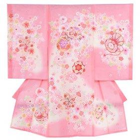 お宮参り女児33(正絹)ピンク地/毬と小華