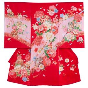 【正絹】お宮参り女の子122 赤 /牡丹と花御所