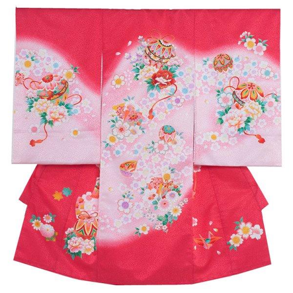 お宮参り女児187 赤地/毬と牡丹桜舞