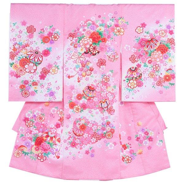 お宮参り女児168 ピンク地/毬と花車
