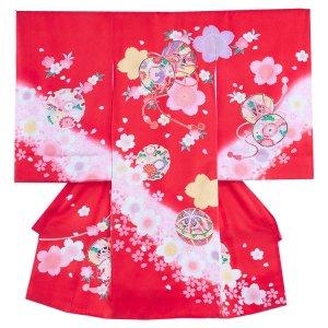 【正絹】お宮参り女の子142 赤 /桜とつつみ