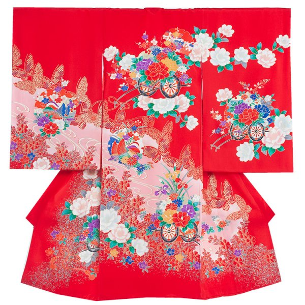 お宮参り女児185 赤地/蝶と花車