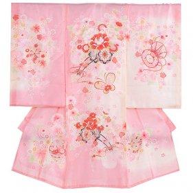 女児産着35(正絹)ピンク地/蝶と花車