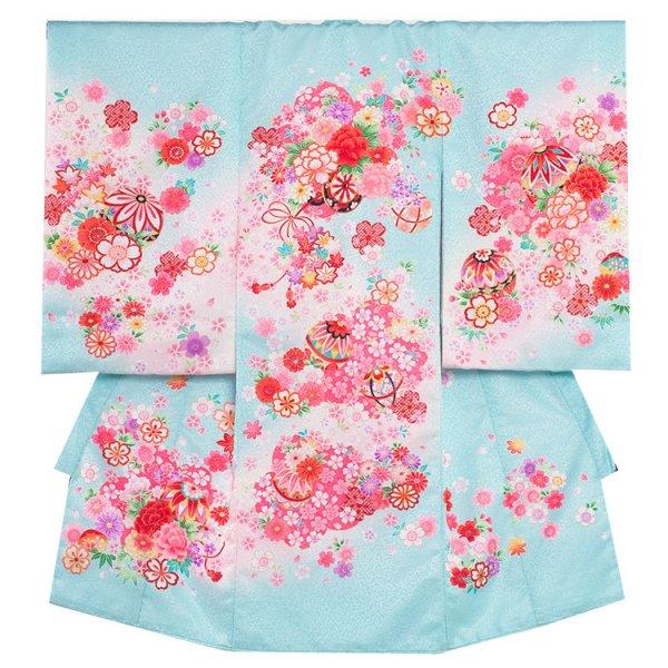 お宮参り女児167 水色地/ピンクの花車