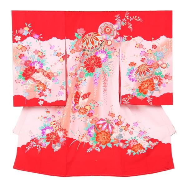 お宮参り女児164 赤地/毬と牡丹