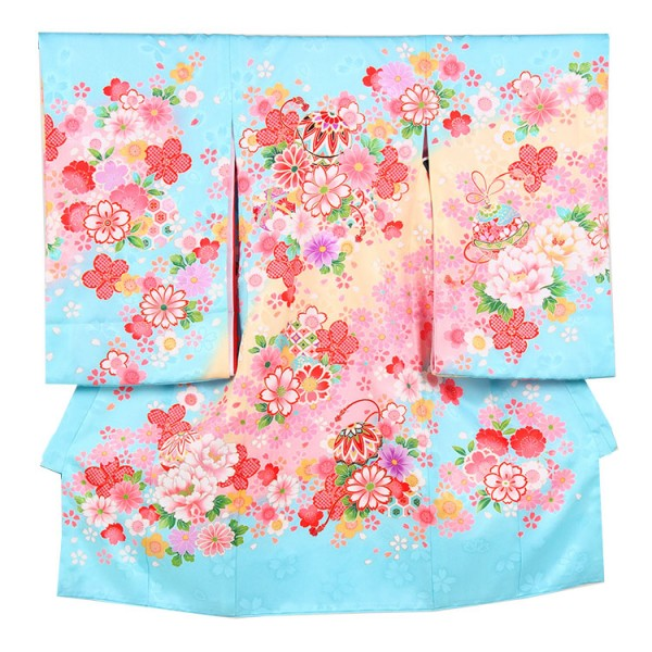お宮参り女児149 水色地/ガーべラと鞠