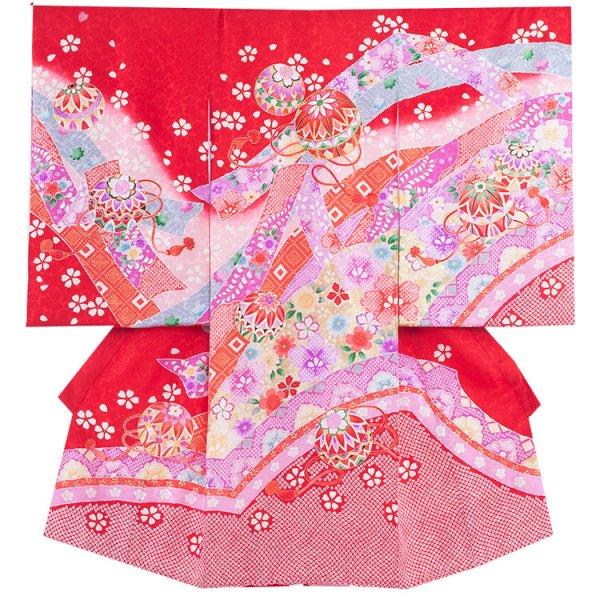お宮参り女児160 赤地/毬とのし裾絞り風