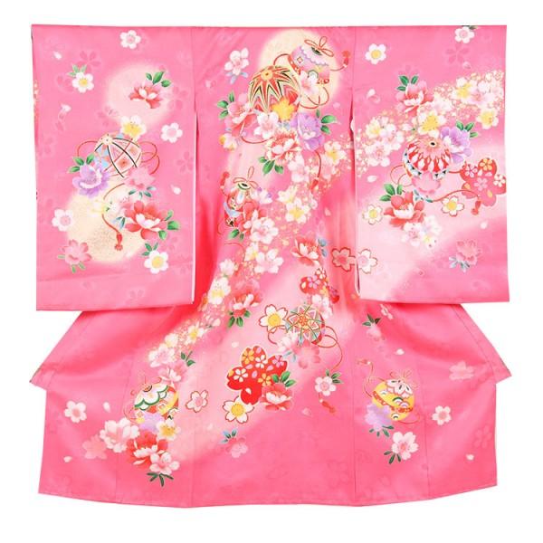 お宮参り女児151 ピンク地/鞠と刺繍花