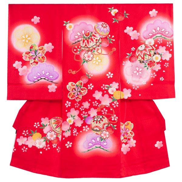 お宮参り女児172 赤地/毬と花松
