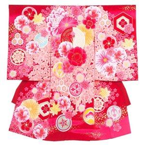 お宮参り女の子177 レットピンク/紅白の合鶴J