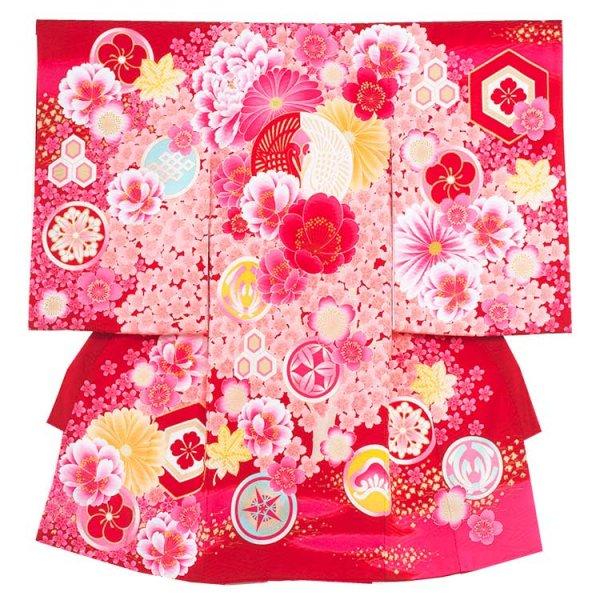 お宮参り女児177 レットピンク/紅白の合鶴J
