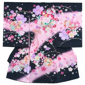 お宮参り女の子157 黒 /花車と桜の舞
