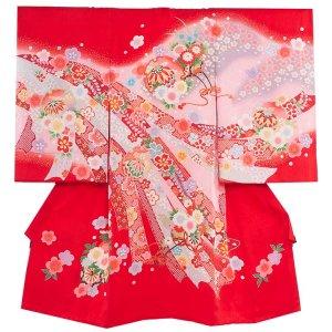 お宮参り女の子138 赤 /鞠と花のし