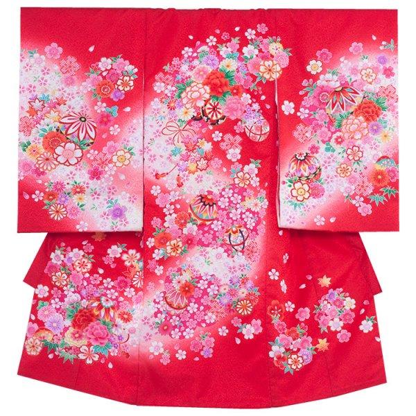 お宮参り女児166 赤地/ピンクの花車