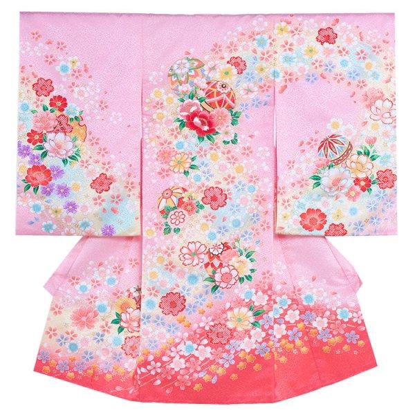 お宮参り女児130 ピンク地/花のせせらぎ