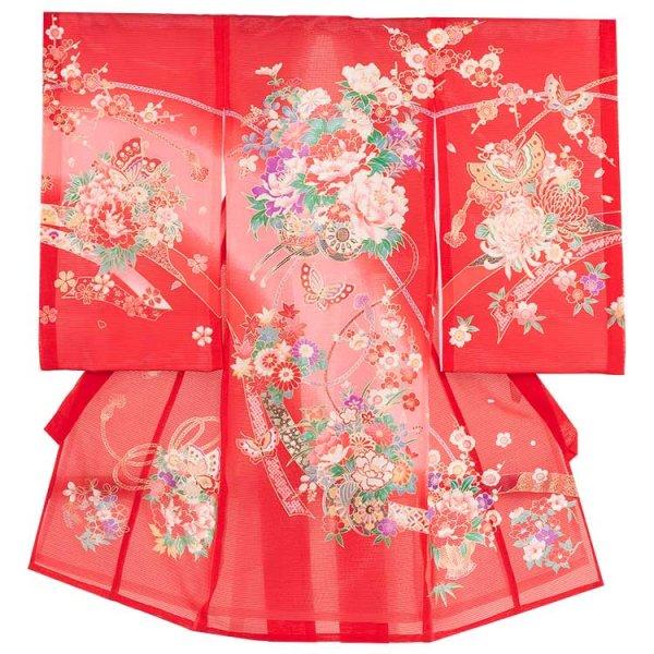 女児産着40(正絹)赤地/花車と蝶