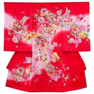 【正絹】お宮参り女の子176 赤 /のしと花毬に蝶