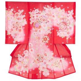 お宮参り女児34(正絹)赤地/毬と小華