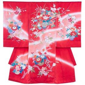 お宮参り女児119 赤地/牡丹と和花の花寄せ