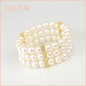 ブレスレット 淡水真珠(8-8.5mm 3連) 015