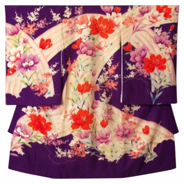女児産着レンタル 0010紫四季の花