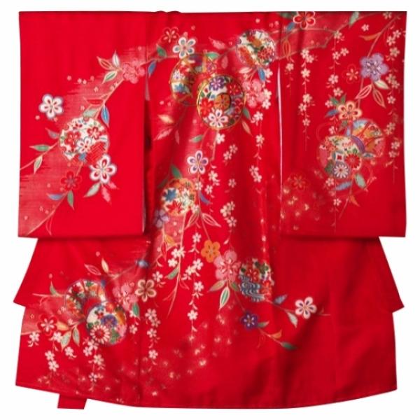 女児産着レンタル 0016赤つづみしだれ桜