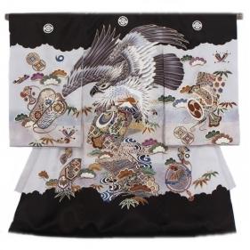 男児産着81黒地に鷲と富士山