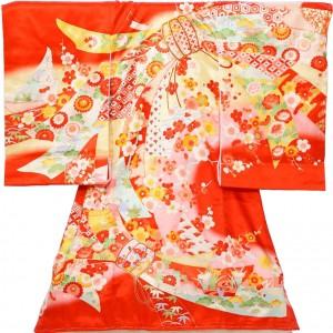 女児産着5n64赤地 束ねのし 季節の花