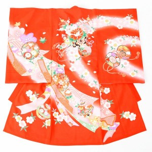 女児産着E-5N93絽-夏用 赤地 花車と鞠