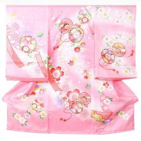 女児産着5n105ピンク 鼓 熨斗に花