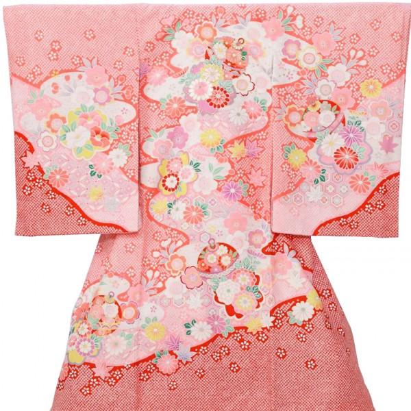 女児産着5n74ピンク絞り調 毬梅 花うさぎ