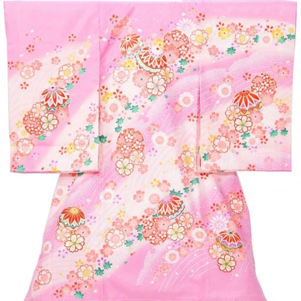 女児産着5n77ピンク まり 季節の花