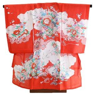 産着女児夏用002赤/牡丹・花車