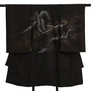 産着レンタル(男児)ub012黒地富士と鷹
