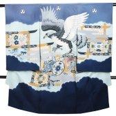 男児産着 ブルーグレー B-31 高級正絹 五つ紋