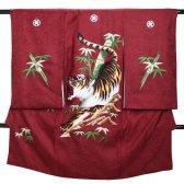男児産着 赤 B-20 高級正絹 五つ紋