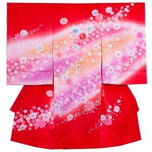【正絹】お宮参り女の子1179 赤/サクラ模様