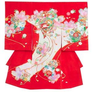 【正絹】お宮参り女の子1173 赤 /鞠と桜