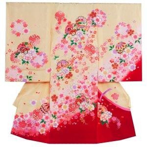 【正絹】お宮参り女の子1046 黄 /祝つつみと華吹雪