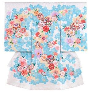 【正絹】お宮参り女の子1048 白 /毬と花模様