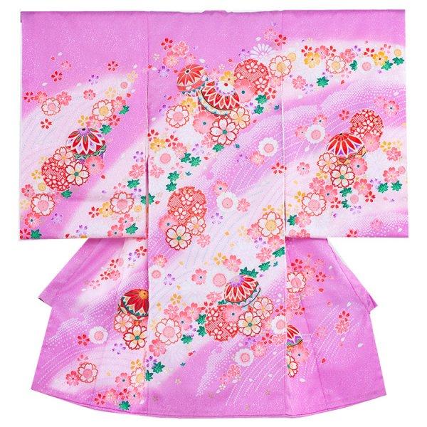 お宮参り女児1062 薄紫地/毬と小花