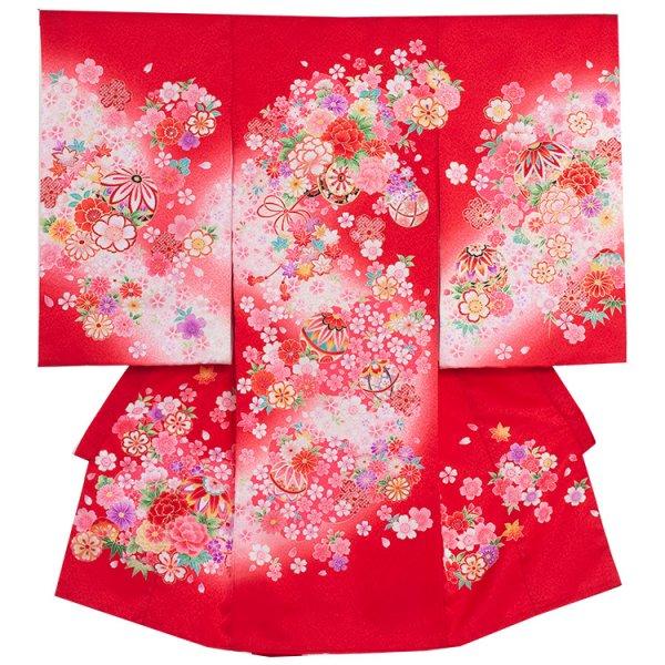 お宮参り女児1006 赤地/ピンクの花舞