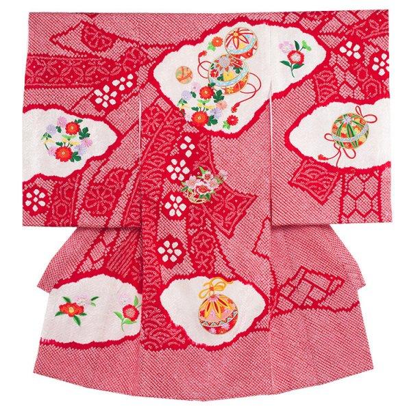 お宮参り女児1072 匠の技 赤地・本絞り刺繍