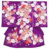 女児産着1105 紫ラメ地/毬と花