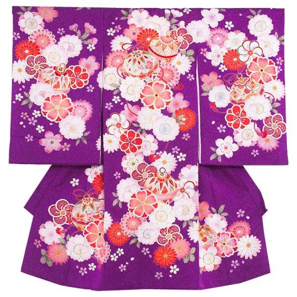 お宮参り女児1105 紫ラメ地/毬と花