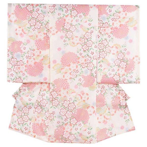 女児産着47a 白地/和菊と桜