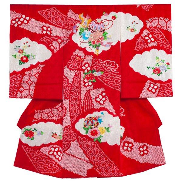 お宮参り女児1066 赤地/本絞りと刺繍花のし