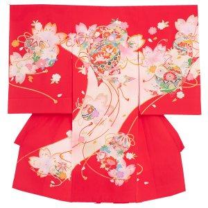お宮参り女の子1174 赤 /鞠と桜